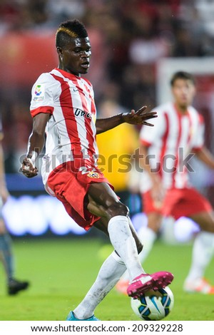 BANGKOK THAILAND-Jul30:Thomas Partey of Almeria. contols the ball during  the LFP World Challenge 2014 between SCG Muangthong UTD. and Almeria at SCG Stadium on July30,2014,Thailand