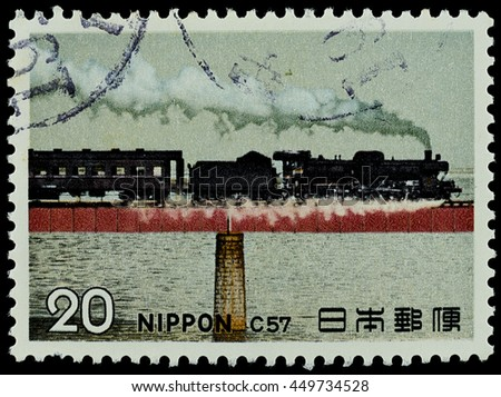 "BANGKOK, THAILAND - JULY 07, 2016: A stamp printed in Japan shows steam locomotive type class C57 train, series ""Steam locomotive"", circa."