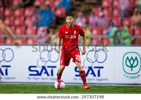 BANGKOK THAILAND JULY 14:Adam Lallana of Liverpool in action during the international friendly match Thai All Stars and Liverpool FC at Rajamangala Stadium on July14,2015 in,Thailand. - stock photo