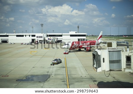 Bangkok,THAILAND-July 20: Air Asia airlines is waiting for take off in Don Muang international airport on July 20, 2015 in Bangkok, Thailand.