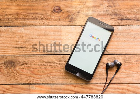 BANGKOK, THAILAND - July 3, 2016: Application Google search users in smartphone , Google search site search engine to find information on the Internet. Available in over 100 languages - stock photo