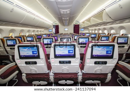 Bangkok Thailand - July 23, 2014 Boeing 787 Dreamliner Economy class with TV Touch screen  in Thai Airways at Suvarnabhumi Airport