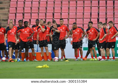 Bangkok, Thailand - July 13: Brendan Rodgers head coach of Liverpool FC in action during the pre-match training session at Rajamangala Stadium on July 13, 2015 in Bangkok, Thailand.