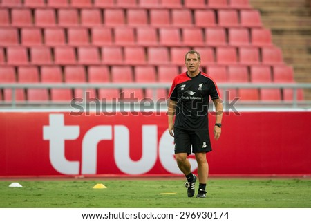 BANGKOK,THAILAND-July13:Brendan Rodgers manager of Liverpool in action during a training session at Rajamangala Stadium on July 13, 2015, in BangkokThailand. - stock photo