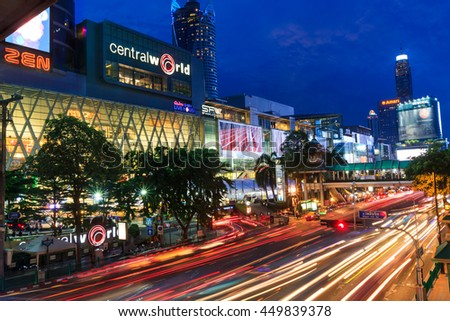 BANGKOK THAILAND-JULY 7 : Central World Shopping Mall in Center of Bangkok , Traffic jams , 2016 in Bangkok Thailand.