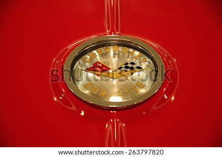 BANGKOK, THAILAND - JULY 17, 2010: Chevrolet Corvette Car Logo. The Chevrolet Corvette is a sports car manufactured by the Chevrolet division of American automotive conglomerate General Motors. - stock photo