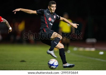 BANGKOK THAILAND-JULY 18:Cleiton Silva of Muangthong Utd. in action during Thai Premier League BEC Tero Sasana F.C.and Muangthong Utd.at 72-years Anniversary Stadium on July 18, 2015,Thailand - stock photo