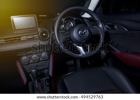BANGKOK,THAILAND -JULY 10 : Cool and modern interior design of Mazda CX-3 dashboard and driver seat view on July 10,2016 in Bangkok, Thailand.