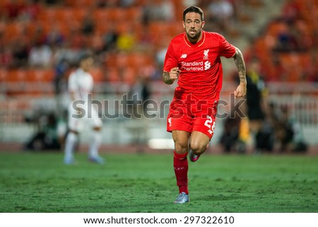 BANGKOK THAILAND JULY 14:Danny Ings of Liverpool in action during the international friendly match Thai All Stars and Liverpool FC at Rajamangala Stadium on July14,2015 in,Thailand. - stock photo