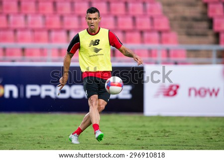 BANGKOK,THAILAND-July13:Dejan Lovren   of Liverpool in action during a training session at Rajamangala Stadium on July 13, 2015, in BangkokThailand. - stock photo