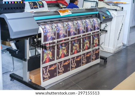 BANGKOK ,THAILAND - JULY 11:  Digital textile printer at Garment 