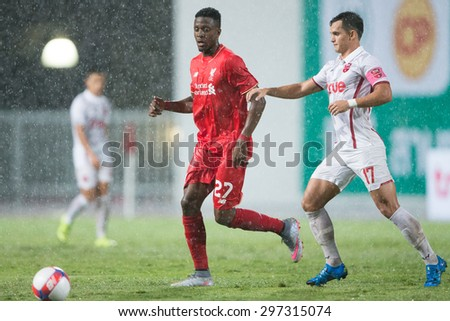 BANGKOK THAILAND JULY 14:Divock Origi (RED) of Liverpool in action during the international friendly match between Thai All Stars and Liverpool FC at Rajamangala Stadium on July14,2015 in,Thailand. - stock photo
