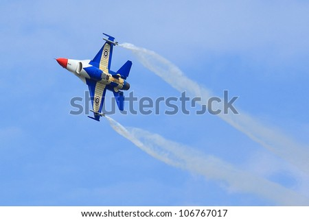 BANGKOK, THAILAND - JULY 02: F-16 was shown at Cerebration of 100 year of Royal Thai air force (RTAF) at Don Muang airport on July 02,2012 in Bangkok, Thailand