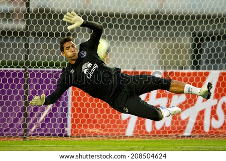 BANGKOK THAILAND JULY 27: Goalkeeper Joel Robles of Everton in action during the pre-season match between Leicester City and Everton at Supachalasai Stadium on July 27, 2014 in Bangkok, Thailand.  - stock photo