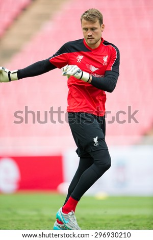 BANGKOK,THAILAND-July13:Goalkeeper Simon Mignolet  of Liverpool in action during a training session at Rajamangala Stadium on July 13, 2015, in BangkokThailand. - stock photo