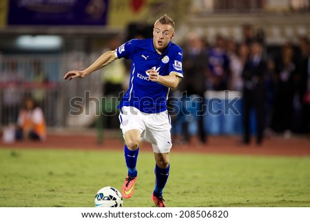 BANGKOK THAILAND JULY 27:jamie Vardy of Leicester City in action during the pre-season match between Leicester City and Everton at Supachalasai Stadium on July 27, 2014 in Bangkok, Thailand.  - stock photo