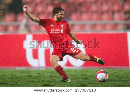 BANGKOK THAILAND JULY 14:Joe Allen  of Liverpool in action during the international friendly match Thai All Stars and Liverpool FC at Rajamangala Stadium on July14,2015 in,Thailand. - stock photo