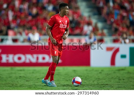 BANGKOK THAILAND JULY 14:Joe Gomez of Liverpool in action during the international friendly match between Thai All Stars and Liverpool FC at Rajamangala Stadium on July14,2015 in,Thailand. - stock photo