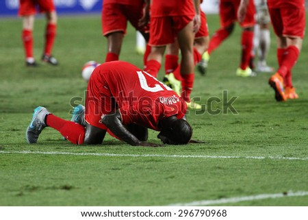 BANGKOK THAILAND JULY 14:Mamadou Sakho of Liverpool celebrates after scoring during friendly match Thailand All-Stars and Liverpool at Rajamangala Stadium on July 14, 2015 in Bangkok,Thailand.