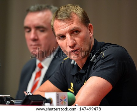 BANGKOK,THAILAND- JULY 26: Manager Brendan Rodgers of Liverpool FC and Ian Ayre managing director during a press conference LFC on tour 2013 at Plaza Athenee hotel on July 26, 2013; Bangkok,Thailand.