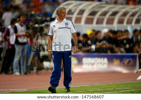 BANGKOK,THAILAND-JULY17:Manager Jose Mourinho of Chelsea  reacts during the international friendly match Chelsea FC and Singha Thailand All-Star at the Rajamangala Stadium on July17,2013 inThailand.