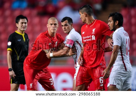 BANGKOK THAILAND JULY 14 :Martin Skrtel(Red) of Liverpool reacts during the international friendly match Thai All Stars and Liverpool FC at Rajamangala Stadium on July14,2015 in,Thailand.