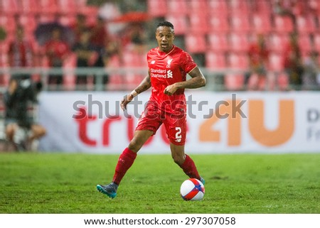 BANGKOK THAILAND JULY 14:Nathaniel Clyne  of Liverpool in action during the international friendly match Thai All Stars and Liverpool FC at Rajamangala Stadium on July14,2015 in,Thailand. - stock photo