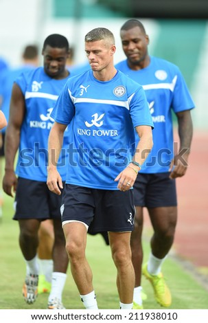 BANGKOK, THAILAND - JULY 25:Paul Konchesky of Leicester City in action during an evening session at Army United Stadium on July 25, 2014 in Bangkok, Thailand.