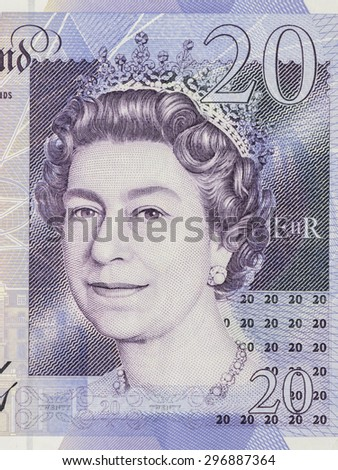 BANGKOK, THAILAND - JULY 13, 2015: Portrait of Her Majesty Queen Elizabeth II on England 20 Pound Sterling note - stock photo