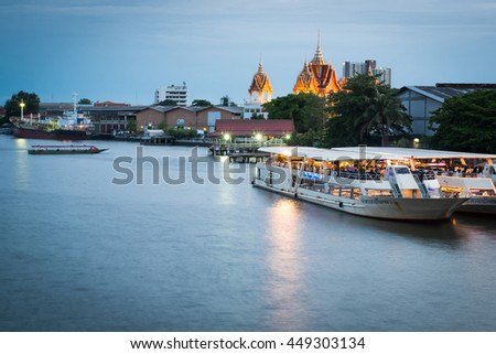 BANGKOK, THAILAND - JULY 8: Rama 3 Road on July 8, 2016 in Bangkok, Twilight view of the Chao Phraya River with yacht. Bangkok, Thailand.