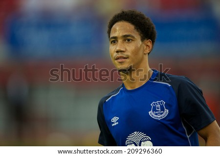 BANGKOK THAILAND JULY 26: Steven Pienaar of Everton in action during training session at Supachalasai Stadium on July 26, 2014 in Bangkok, Thailand. - stock photo
