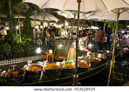 "Bangkok / Thailand - July 17th 2016: Floating Market Festival which in Thai so called ""Bangkok Varee"" at Central World, the biggest Thai riverside cultural event in the city"