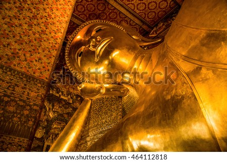 Bangkok, Thailand - JULY 08, 2016: The Golden Reclining Buddha at Wat Pho