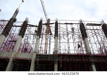 BANGKOK, THAILAND - JULY 30, 2016: Under-construction of concrete building form works installed by construction workers at site