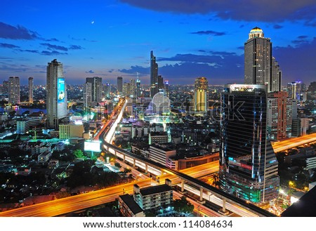 BANGKOK, THAILAND - JULY 21:View of Bangkok cityscape in the night on July 21, 2012. Bangkok received World's Best City Award 2012. - stock photo