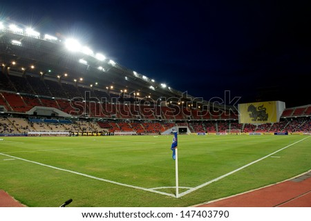 BANGKOK,THAILAND-JULY 17: View of Rajamangala Stadium during a Chelsea FC training session at Rajamangala Stadium on July 17, 2013 in Bangkok, Thailand.