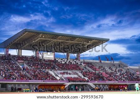 BANGKOK THAILAND-JULY 18:View twilight of 72-years Anniversary Stadium during Thai Premier League BEC Tero Sasana F.C.and Muangthong Utd.at 72-years Anniversary Stadium on July 18, 2015,Thailand - stock photo