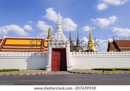 BANGKOK,THAILAND - JULY 3: Wat Phra Kaew, Grand Palace Wall Bangkok. View from the street near Wat Phra Kaew, July 3, 2014 in Bangkok,Thailand - stock photo