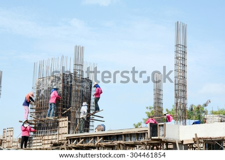 Bangkok, Thailand - July 09:Workers work on a Condominium construction site.They are setting up Stake,Thailand on July 09, 2015.