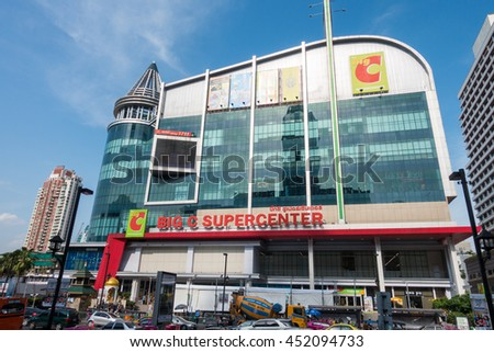 Bangkok, Thailand - 20 JUN 2016. Big C Supercenter mall building locate at Rachdumri road branch  in Bangkok, Thailand. It is one of largest shopping department store in Thailand .