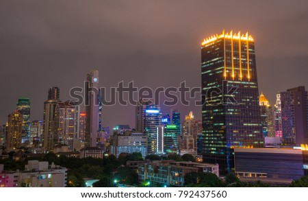 Bangkok, Thailand - Jun 19, 2017. Night view of Bangkok, Thailand. Bangkok is the economic centre, and the heart of the country investment and development.