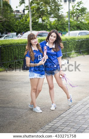 BANGKOK THAILAND Jun 3 2016 : Unidentified fan of Thailand supporters during the King's cup match Thailand 2016  Thailand Team and Syria Team at Rajamangala Stadium on Jun 3 2016 in Thailand. - stock photo