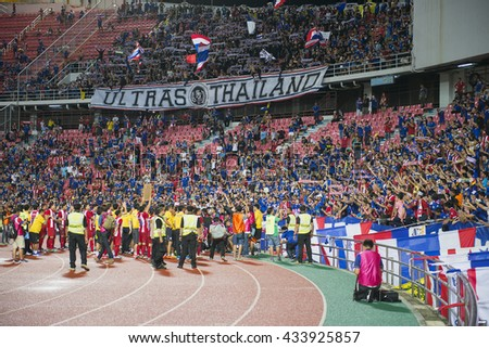 BANGKOK THAILAND Jun 5 2016 :Unidentified fan of Thailand supporters during the King'?s cup match Thailand 2016  Thailand Team and Jordan Team at Rajamangala Stadium on Jun 5 2016 in Thailand.