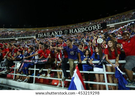 BANGKOK THAILAND JUN 3:Unidentified fans of Thailand supporters during the King's Cup 2016 Match between Thailand and Syria at Rajamangala Stadium on June 3,2016 in Thailand.