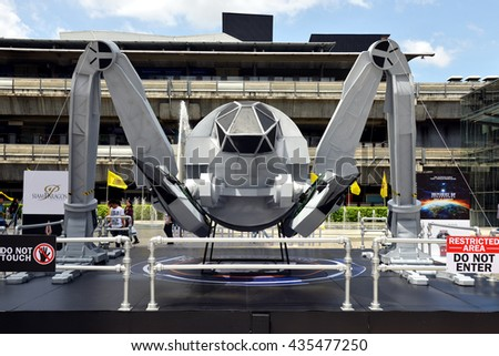 Bangkok, Thailand - June 11, 2016: A Large Size Model of The Moon Tug (Human Spaceship) to promote the movie Independence Day Resurgence