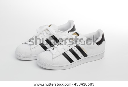 BANGKOK, THAILAND - June 8,2016: Adidas superstar shoes on white - illustrative editorial