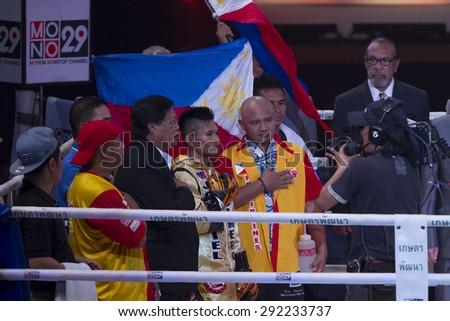 BANGKOK,THAILAND:JUNE 2015:Amnat Ruenroeng Championship IBF (Thailand) vs John Riel Reponte Casimero  Challenger (Philippines) at Hua Mark Indoor Stadium on 27 june2015,Bangkok Thailand.