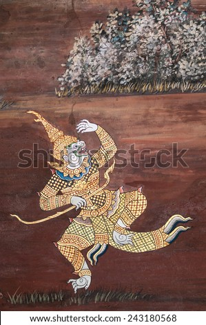 BANGKOK, THAILAND - JUNE 17, 2014: Ancient thai mural painting inside Wat phra kaew on June 17, 2014 at Bangkok Thailand. - stock photo