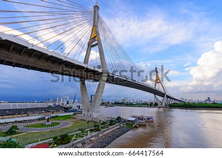 Bangkok , Thailand - 21 June, 2017 :Beautiful Big Bhumibol Bridge / Big bridge at the river