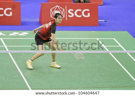 BANGKOK, THAILAND- JUNE 6: Busanan Ongbumrungpan in action during SCG Thailand Open Grand Prix Gold 2012 on June 6, 2012 at CU Sport Complex in Bangkok, Thailand